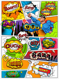 Comic book page divided by lines with speech bubbles, rocket, superhero and sounds effect. Retro background mock-up. Comics template.  Illustration