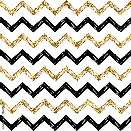 Seamless pattern of black gold zigzag chevron, golden and black zig zag striped background, hand painted vector design for textile, wallpaper, web, wrapping, save the date, wedding, card, paper - 127062769