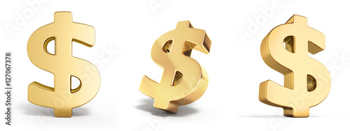 set of Golden dollar sign 3d render on white