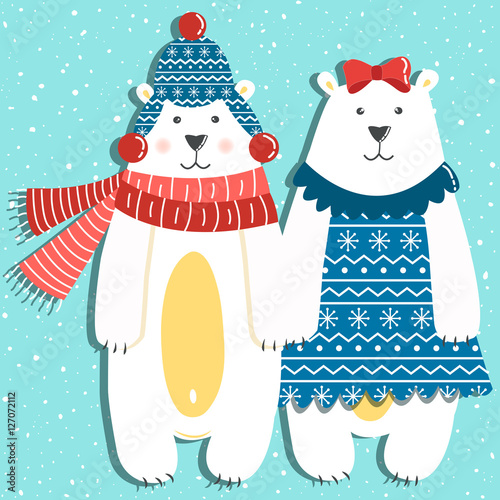 Papiers peints Hibou Funny couple of polar bears on a blue background with snow