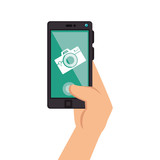smartphone device with photographic app vector illustration design