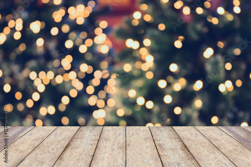 Foto Murales Christmas holiday background with empty wooden table