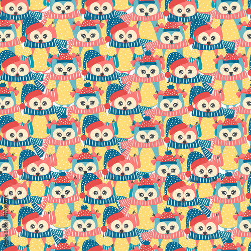 Papiers peints Hibou Seamless pattern of colorful owls on a white background