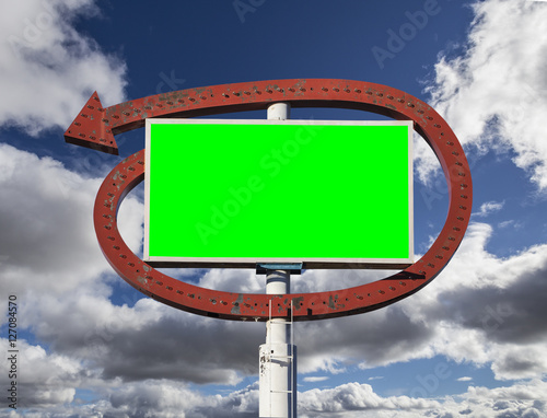 Poster Vintage Arrow Sign with Chroma Green Insert and Clouds