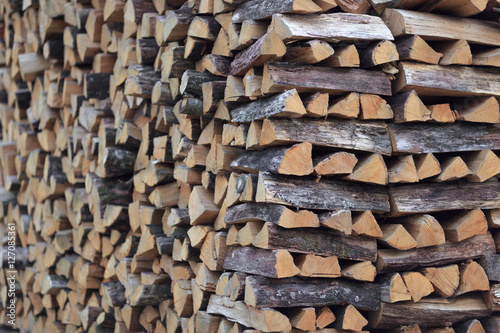 chopped firewood stacked for storage for the winter Poster