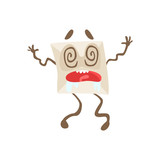 Dizzy Humanized Letter Paper Envelop Cartoon Character Emoji Illustration