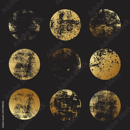 Set of golden foil round textures for logos, labels, branding, frames. Golden glitter leaf foil textured circle stamps.