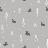 Winter Forest with a Rabbit