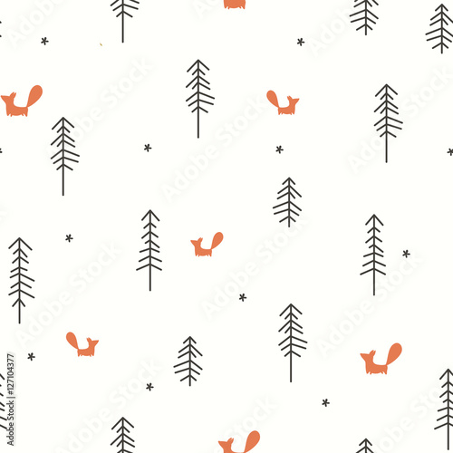 Cotton fabric Winter Forest Seamless Pattern