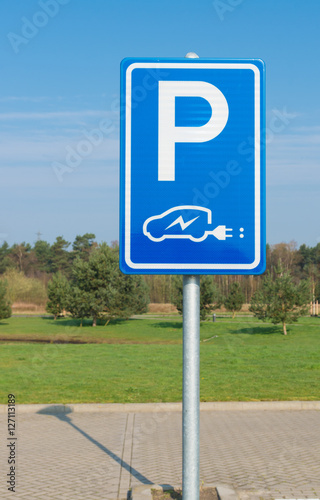 Poster electric car parking sign