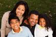 Happy biracial family.