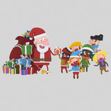 Santa claus giving gifts.