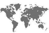 Абстрактный фон. Карта мира круглыми точками. Векторная иллюстрация.