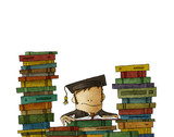 Drawing of man surrounded with books - 127119917