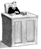 Black and white illustration of a judge sitting in the courtroom.