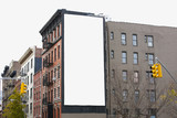 Blank billboard on building in urban setting.