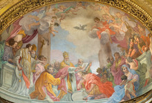 """Постер, картина, фотообои """"ROME, ITALY - MARCH 9, 2016: The fresco Baptism of emperor Constantine in main apse of church Chiesa di San Silvestro in Capite by Pope Sylvester by Ludovico Gimignani (1688)."""""""