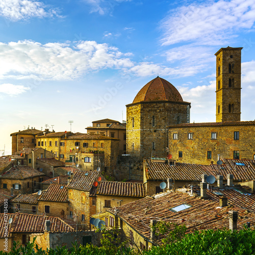 Deurstickers Toscane Tuscany, Volterra town skyline, church and campanile tower Italy