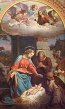 "Постер, картина, фотообои ""VIENNA - JULY 27: Fresco of Nativity scene by Karl von Blaas from 19. cent. in nave of Altlerchenfelder church on July 27, 2013 Vienna."""