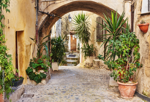 Fototapety, obrazy : Narrow street with flowers in the old town Coaraze in France