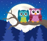 Stylized owls on branch theme image 3