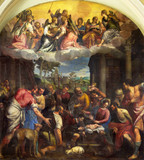 BRESCIA, ITALY - MAY 23, 2016: The painting Adoration of shepherds in Sant' Afra church by Carlo Caliari (1570 - 1596). - 127174740
