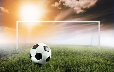 fototapeta piłka nożna zachmurzone niebo