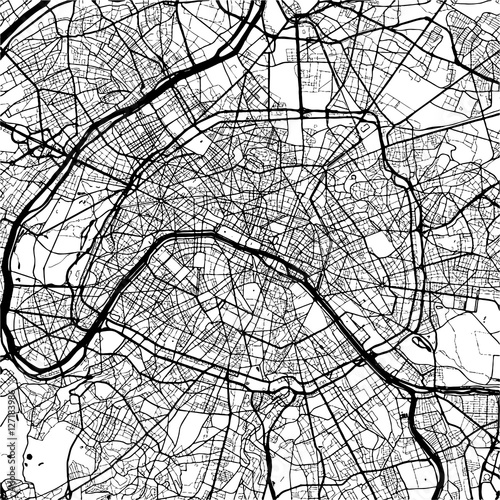 Wall mural Paris, France, Monochrome Map Artprint
