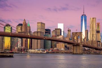 Sunrise colors of Brooklyn Bridge and  Manhattan, New York City,