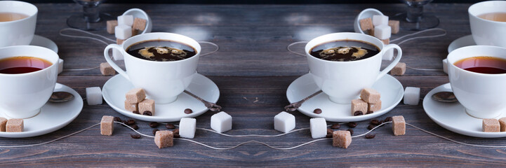 Tea, black tea, green tea, black espresso coffee in white porcelain cups on rustic wooden table. Wide panoramic image.