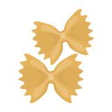 Farfalle icon pasta in cartoon style isolated on white background. Types of pasta symbol stock vector illustration.