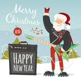 vector rock santa illustration