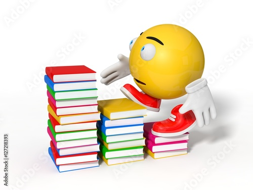 Poster simple yellow smiley ball character and book. education themme.