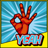 hand gesture with comic and pop art colorful design. vector illustration