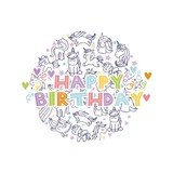 Fototapety happy birthday with unicorns icons in circle shape over white background. colorful design. vector illustration