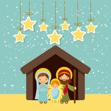 holy family manger scene and decorative stars hanging. merry christmas colorful design. vector illustration