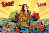 Woman with shopping in a sea of sales