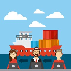 cargo ship and logistics persons working. export and import colorful design. vector illustration