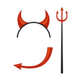 Devils horns head gear with trident and tail.