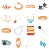 Jewelry and accessories set icons in cartoon style. Big collection of jewelry and accessories vector symbol stock illustration