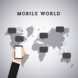 human hand holding a smartphone device and over world map with speech bubbles. mobile world design. vector illustration
