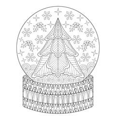 Zentangle vector Snow globe with Christmas fir tree, snowflakes