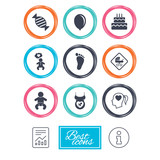Pregnancy, maternity and baby care icons. Candy, strollers and pacifier signs. Footprint, birthday cake and heart symbols. Report document, information icons. Vector