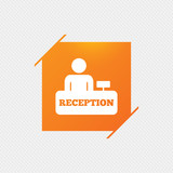 Reception sign icon. Hotel registration table with administrator symbol. Orange square label on pattern. Vector