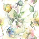 Fototapety Seamless pattern with Original Summer flowers