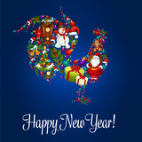 Happy New Year greeting poster, Rooster symbol