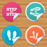 Round stickers or website banners. Step by step icons. Footprint shoes symbols. Instruction guide concept. Circle badges with bended corner. Vector