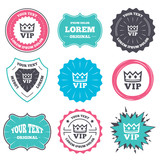 Label and badge templates. Vip sign icon. Membership symbol. Very important person. Retro style banners, emblems. Vector
