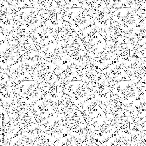 Cotton fabric Seamless floral pattern with leaves and twigs.