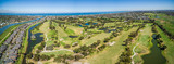 Aerial panorama of Patterson River Golf Club on a bright sunny day. Melbourne, Australia.
